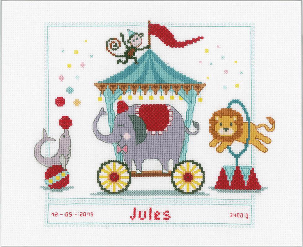 Counted Cross Stitch Kit Birth Record Circus Animals Craft Kids