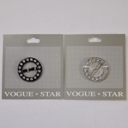 Vogue Star 20mm Round Diamante Slide Bling Replacement Buckle Accessories