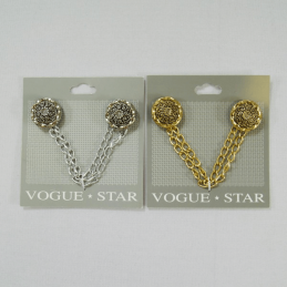 Vogue Star Cloak Chain Twist Flower Design Buttons 135mm Vintage