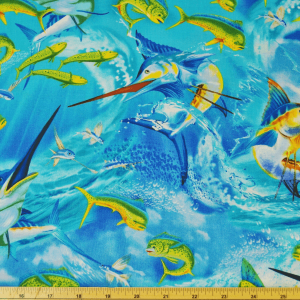 Sword & Flying Fish Sea Ocean Life 100% Cotton Fabric