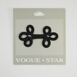 Vogue Star 60mm Black Decorative Chinese Frog Fastener Clasp Replacement Buckle