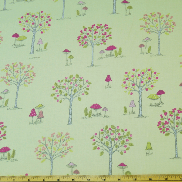 Cream 100% Cotton Fabric Lifestyle Woodland Forest