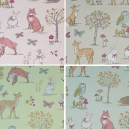 100% Cotton Fabric Lifestyle Woodland Animals Foxes Rabbits Wildlife 140cm Wide