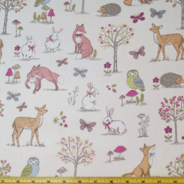 Cream 100% Cotton Fabric Lifestyle Woodland Animals