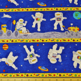 Blast Off Astronauts On The Moon Out Of Space 100% Cotton Dress Fabric