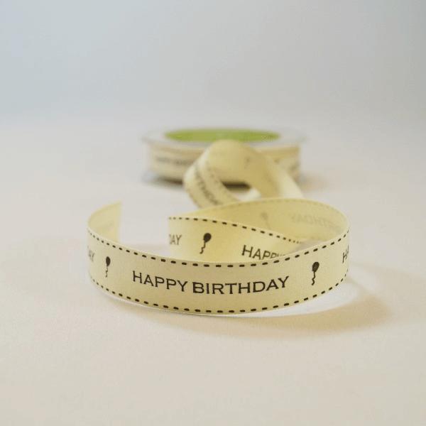 20mm Happy Birthday Vintage Print May Arts Cotton Craft Ribbon