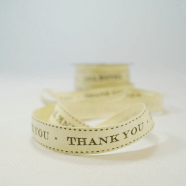 20mm Thank You Vintage Print May Arts Cotton Craft Ribbon