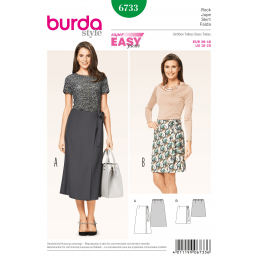 Burda Misses Wrap Skirt Easy Narrow Long Short Womans Fabric Sewing Pattern 6733