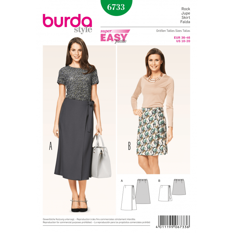 Burda Misses Wrap Skirt Easy Narrow Long Short Womans Fabric Sewing...