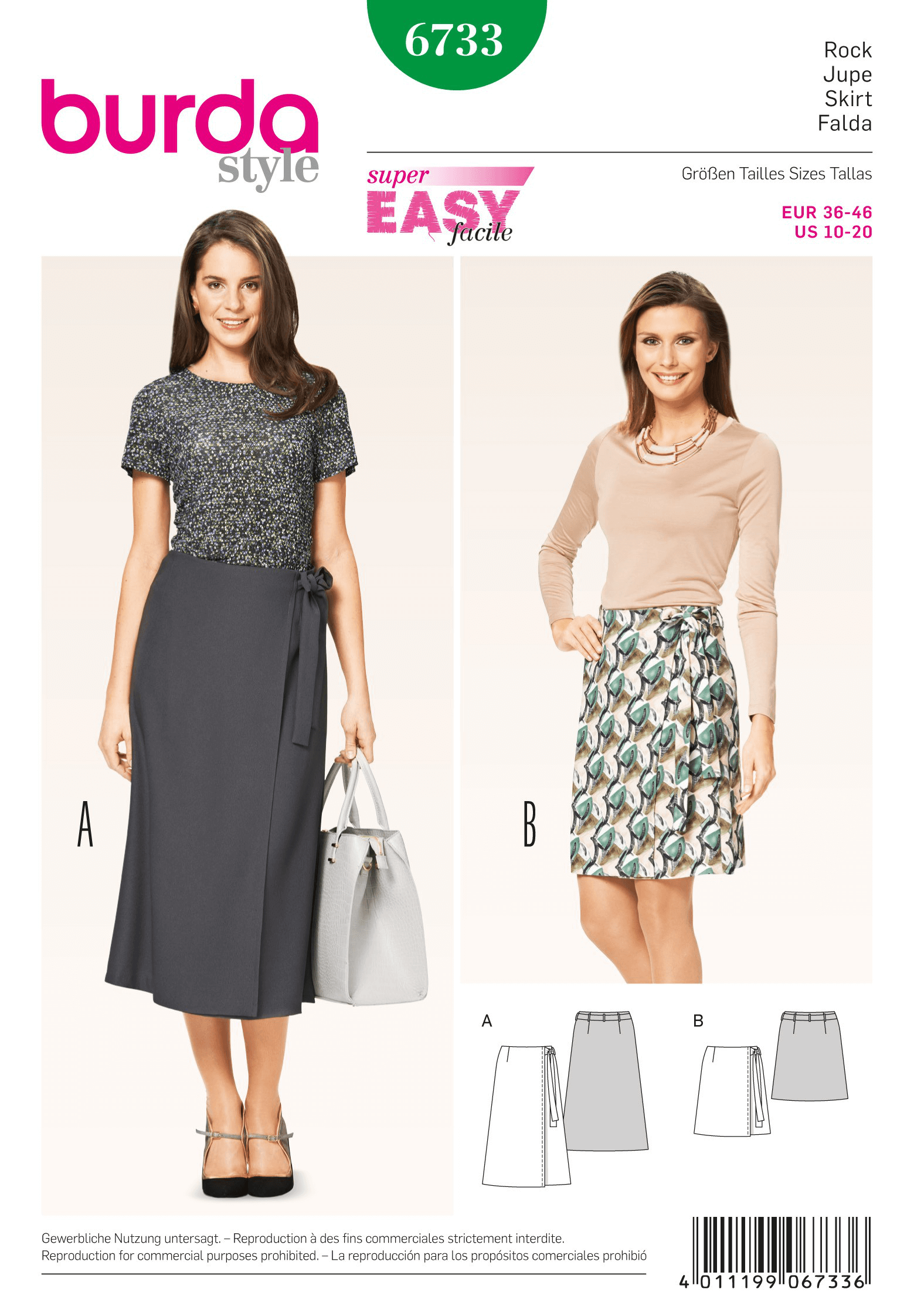 Burda Misses Wrap Skirt Easy Narrow Long Short Womans Fabric Sewing Pattern 6733
