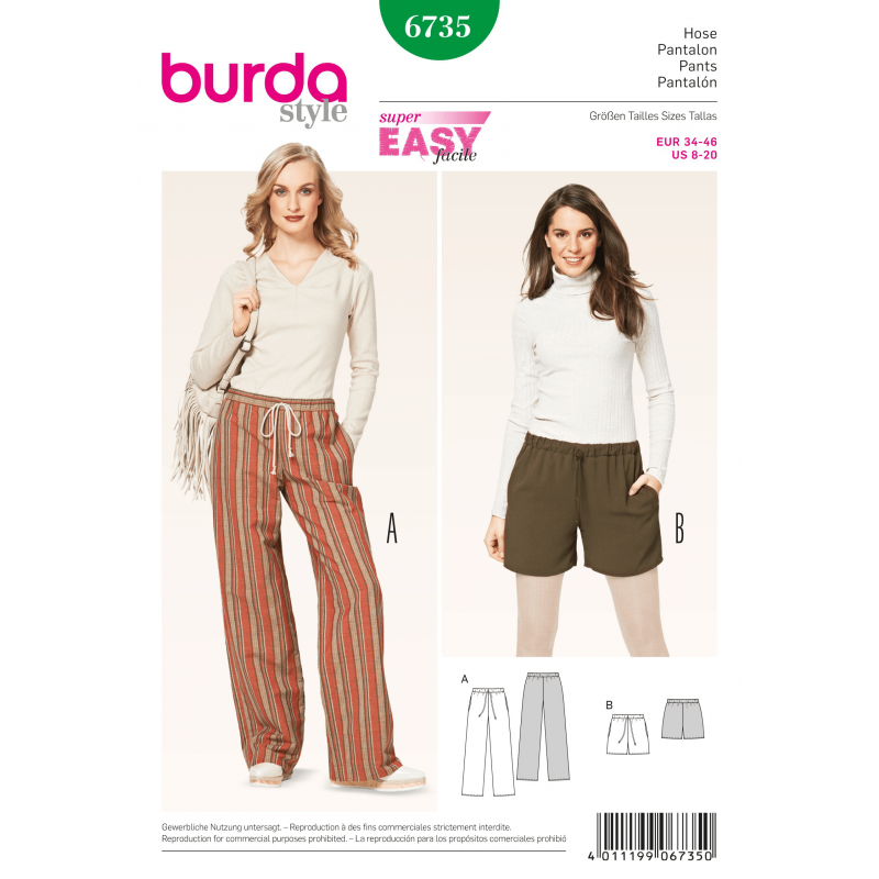 Burda Misses Trousers Loose Fit Drawstring Womans Fabric Sewing Pattern 6735