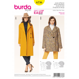 Burda Misses' Jackets and Coats Wool Womans Fabric Sewing Pattern 6736