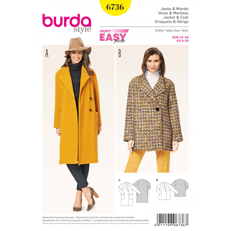 Burda Misses\' Jackets and Coats Wool Womans Fabric Sewing Pattern 6736