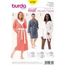 Burda Style His and Hers Bathrobes Unisex Fabric Sewing Pattern 6740