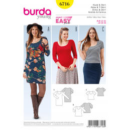 Burda Misses Plus Size Shirt Dress Womens Fabric Sewing Pattern 6716