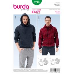 Burda Sewing Pattern 6718 Mens Pullover Hoodie Casual Sweatshirt Jumper