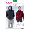 Burda Mens Pullover Hoodie Casual Fabric Sewing Pattern 6718