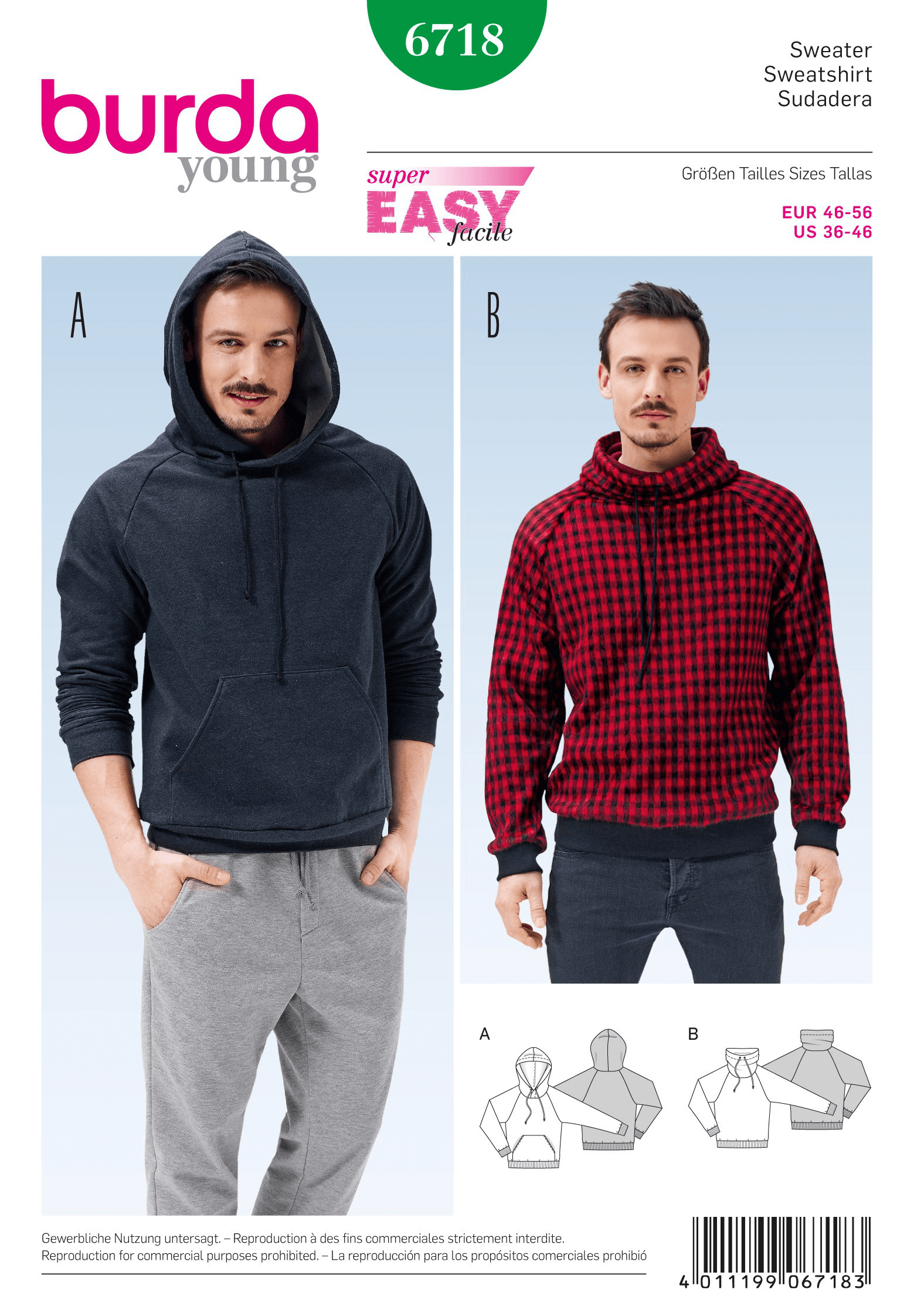 Burda Mens Pullover Hoodie Casual Fabric Sewing Pattern 6718