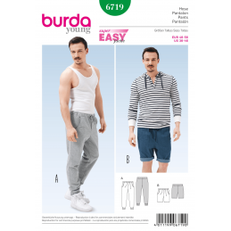Burda Mens Jogging Tracksuit Trousers & Shorts Casual Fabric Sewing Pattern 6719