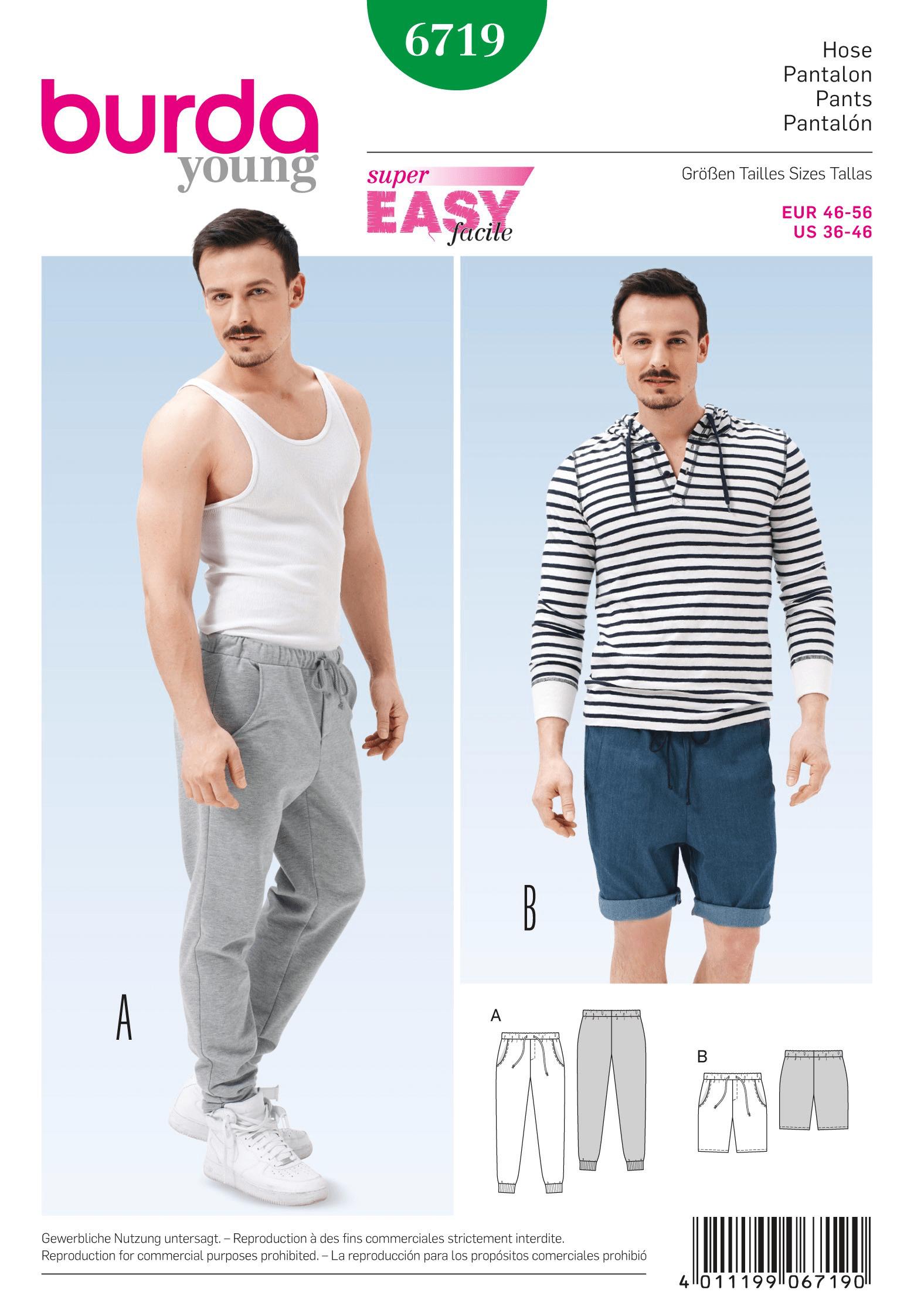 Burda Mens Jogging Trousers Casual Fabric Sewing Pattern 6719