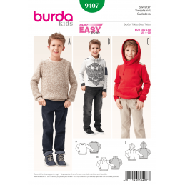 Burda Kids Children's Jumper Sweater Hoodie Boys Fabric Sewing Pattern 9407