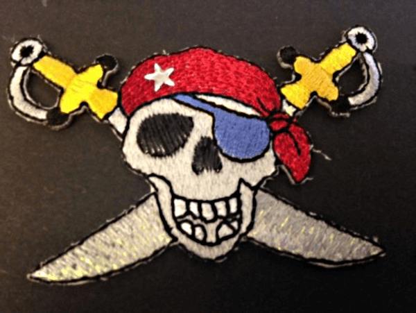 Skull and Cross Swords Pirate Iron On Craft Motif Stylish Patch