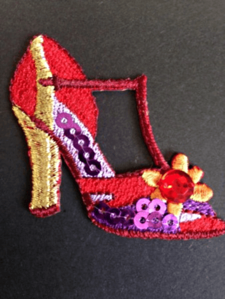Sequined High Heeled Shoe Strappy Iron On Craft Motif Stylish Patch