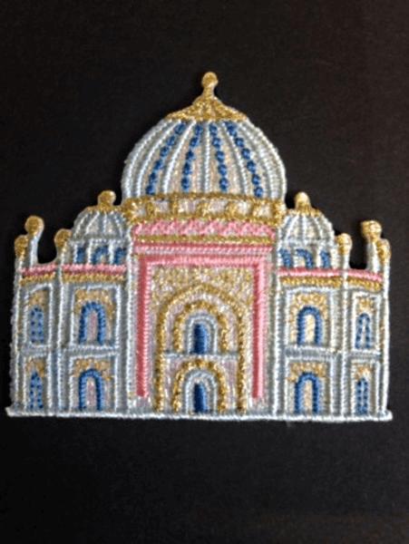 Taj Mahali Palace Glitter Iron On Craft Motif Stylish Patch
