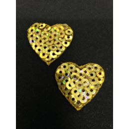 Gold Sequin Mini Hearts Sparkle Iron On Craft Motif Stylish Patch