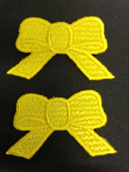 Pair of Cute Yellow Bows Ribbons Iron On Craft Motif Stylish Patch