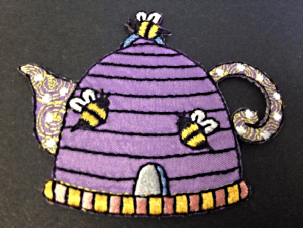 Beehive Honey Tea Pot Bees Iron On Craft Motif Stylish Patch