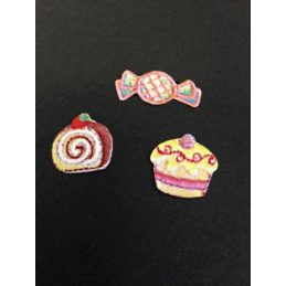 Sweet Treats Sweeties and Cakes Set of 3 Iron On Craft Motif Stylish Patch