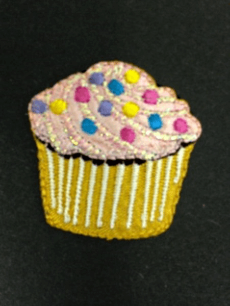 Cupcake with Sprinkles and Glitter Iron On Craft Motif Stylish Patch