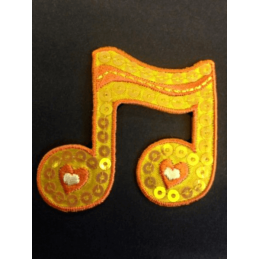 Large Orange Wavy Music Note Sequins Iron On Craft Motif Stylish Patch
