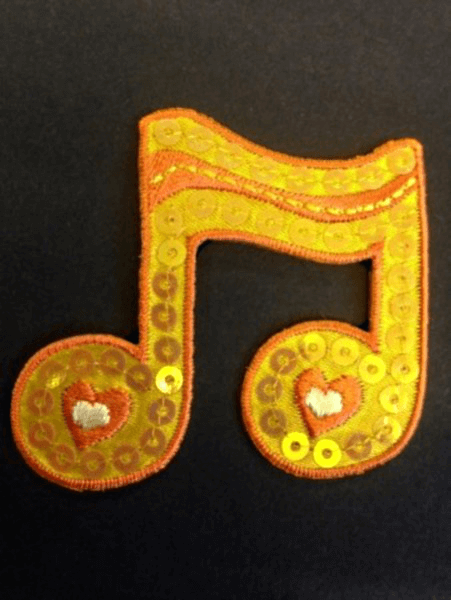 Large Orange Wavy Music Note Sequins Iron On Craft Motif Stylish Patch