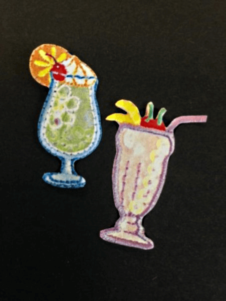 Pair of Cocktails Drinks Relax Iron On Craft Motif Stylish Patch