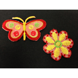 Red Butterfly Yellow Flower Glitter Iron On Craft Motif Stylish Patch