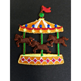 Colourful Carousel Merry Go Around Iron On Craft Motif Stylish Patch