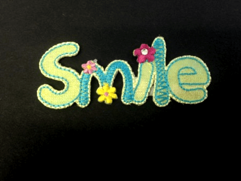 Smile Sequin Flower Floral Iron On Craft Motif Stylish Patch