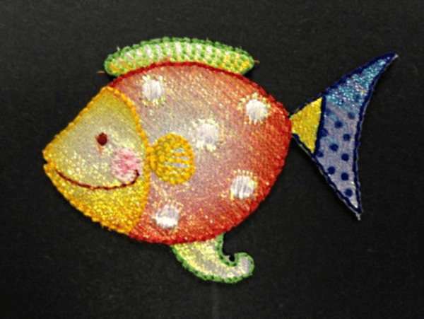 Happy Tropical Fish Glitter Swim Ocean Iron On Craft Motif Stylish Patch