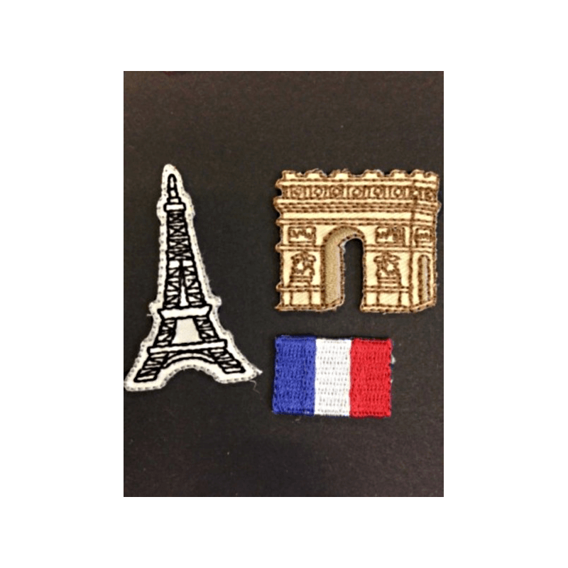 Paris France Eiffel Tower Arc de Triomphe Flag Iron On Craft Motif Stylish Patch
