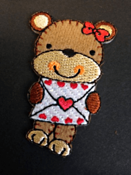 Cute Bear Love Letter Bow Iron On Craft Motif Stylish Patch