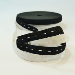 19mm Adjustable Waistband Buttonhole Elastic Black or White