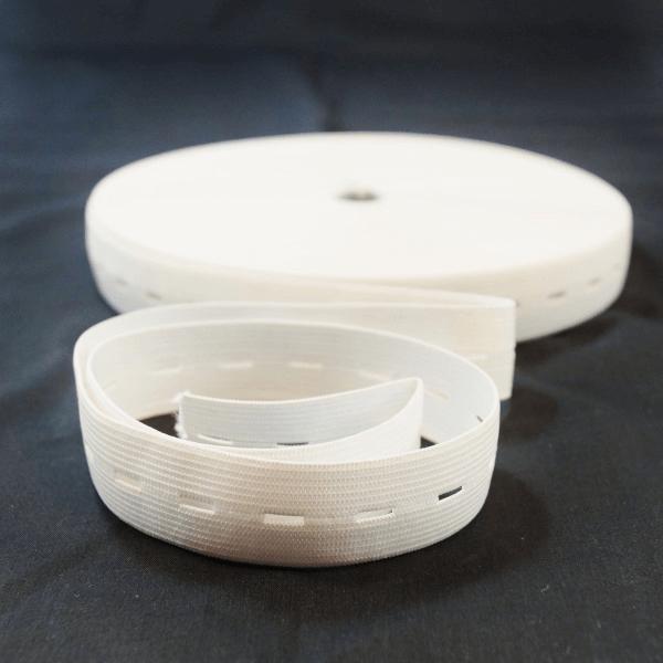 25mm Adjustable Waistband Buttonhole Elastic Black or White Various Lengths