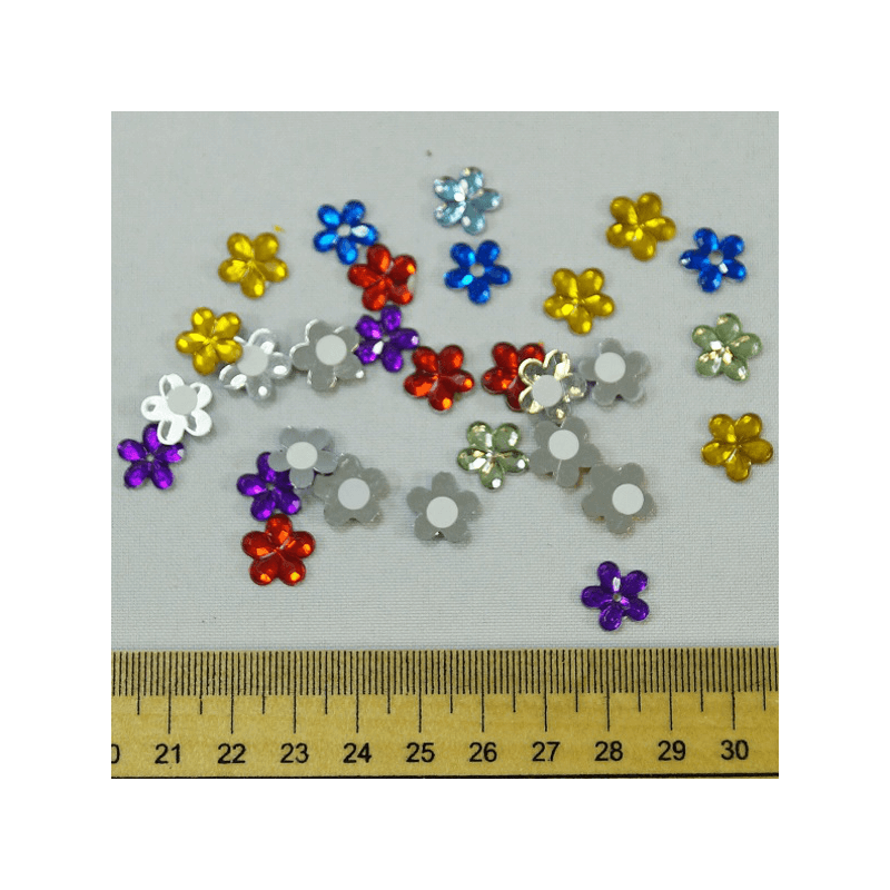 30 x Multicolour Flower Head Gem Embellishments