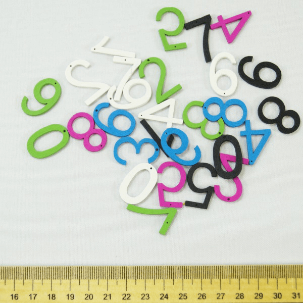 30 x Wooden Numbers Multicolour Embellishments