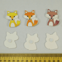 6 x Wooden Foxes Orange, Yellow & Brown Embellishments