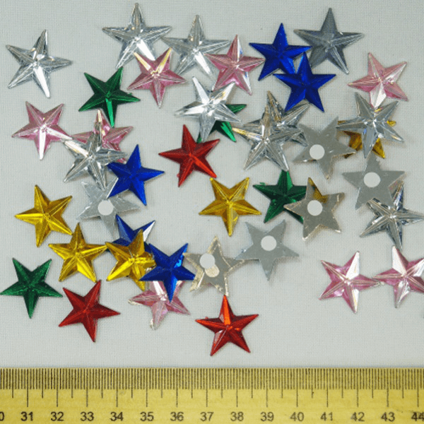 45 x Mirror Stars Medium  Embellishments