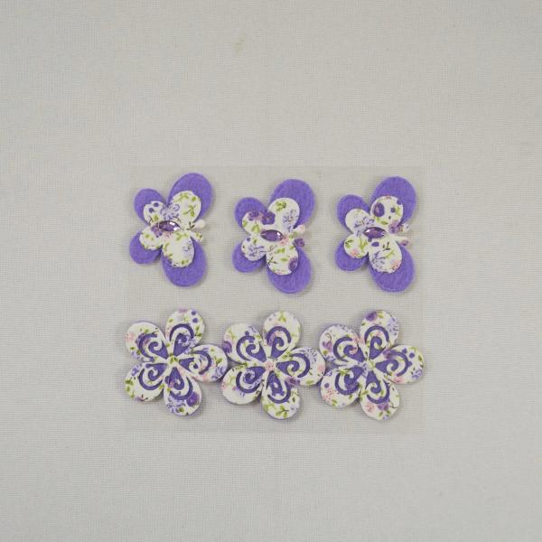 6 x Purple Butterflies and Flowers Embellishments Craft Cardmaking Scrapbooking
