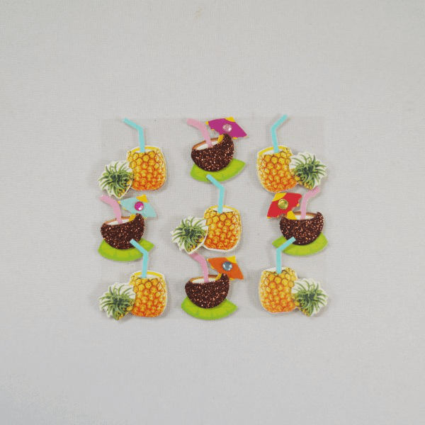 9 x Coconut and Pineapple Cocktails Embellishments Craft Cardmaking Scrapbooking